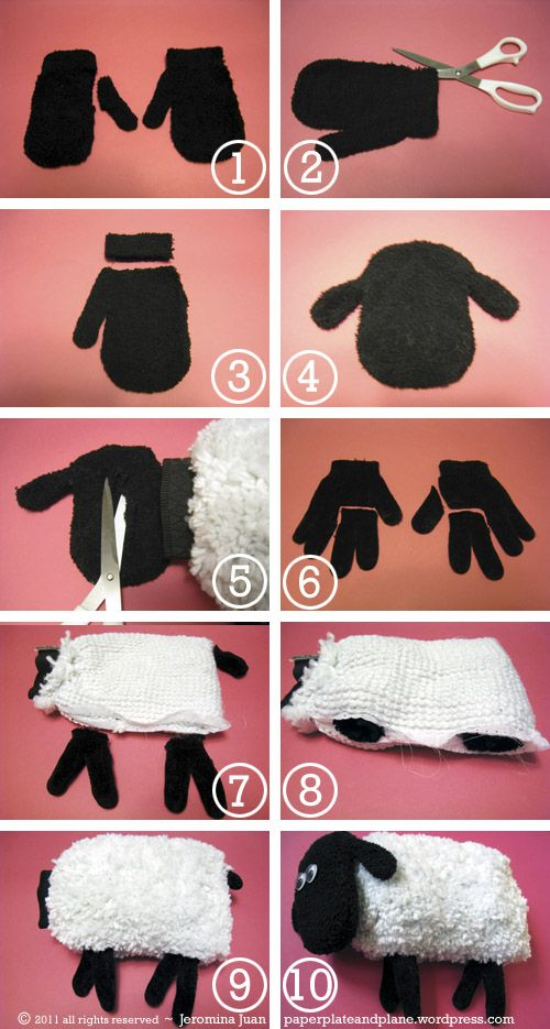 sheep plush out of mitts and gloves « paper, plate, and plane