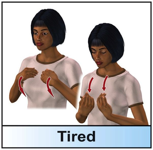 sign language: TIRED   Sign Language: Signs in ASL   Sign ...