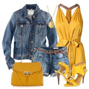 С чем носить желтые босоножки: джинсовые шорты и рубашка, желтая туника и сумка