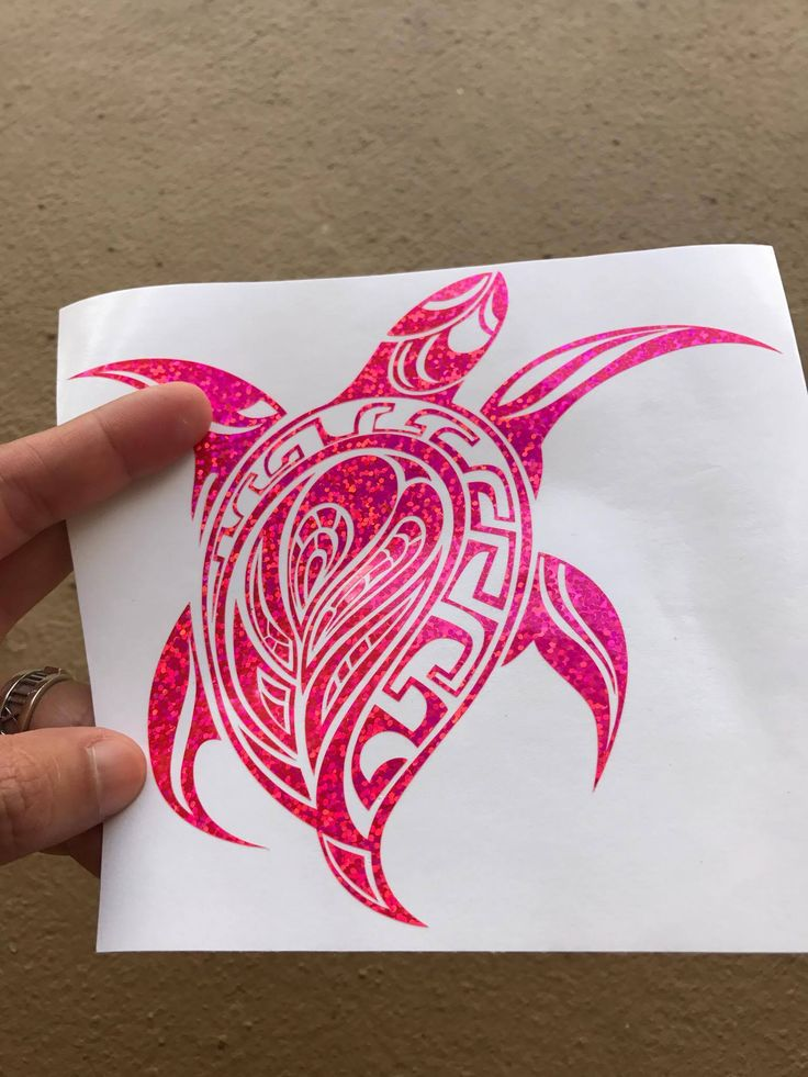 Pink sea turtle tribal 6 glitter holographic vinyl decal sticker car window