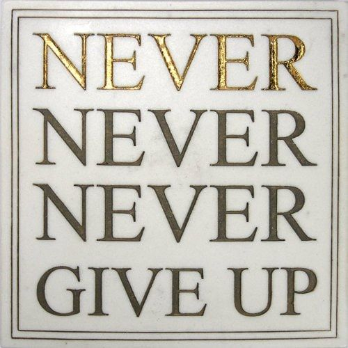 Never Never Never Give Up Inspirational Wall Plaque