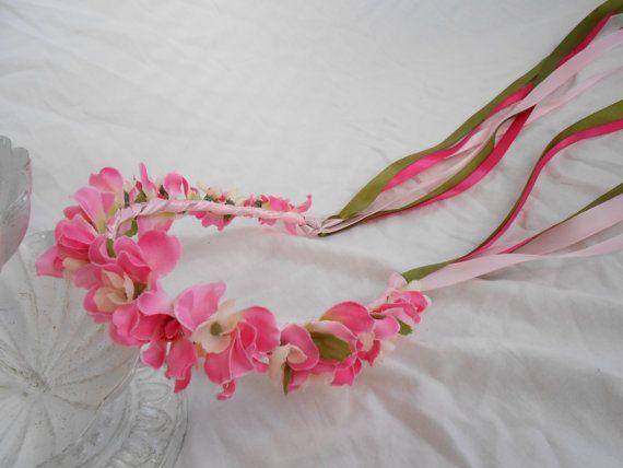 Pink Spring Flower Crown Larkspur Floral Headband by FlowerFair, $25.95