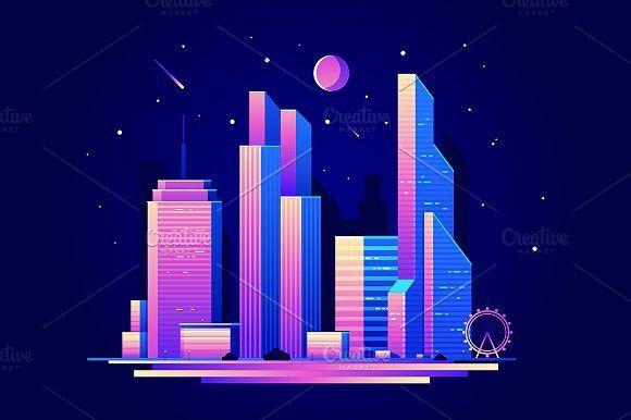 Night City City Illustration Night City Business Vector Illustration