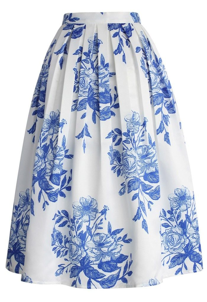 836a9a07ecb8 Blue Floral Sketch Pleated Midi Skirt - Skirt - BOTTOMS - Retro, Indie and  Unique Fashion
