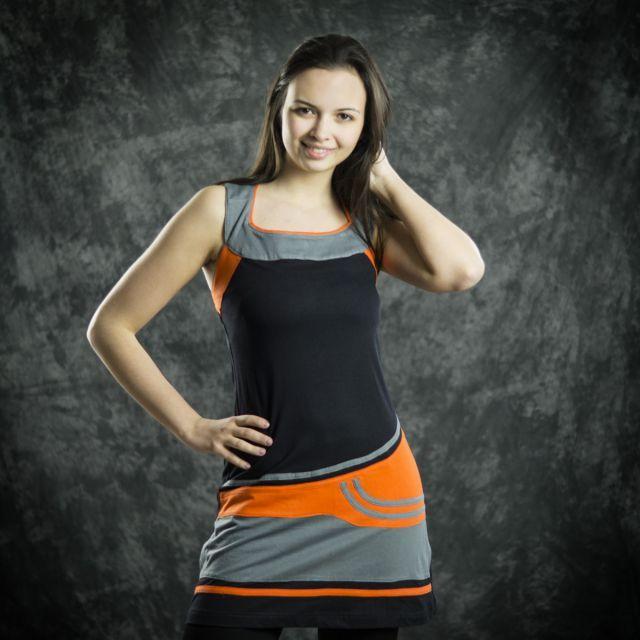 Thao - Šaty Antico - černé s šedou a oranžovou