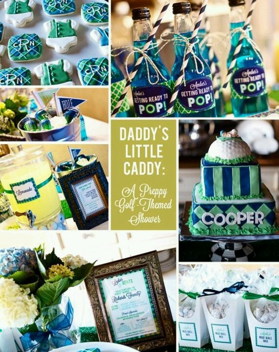 Golf Themed Preppy Argyle Blue Green Baby Shower For Daddys Little Caddy Party Collage Would Also Be A Cute Masters Party Idea With A Little Tweaking