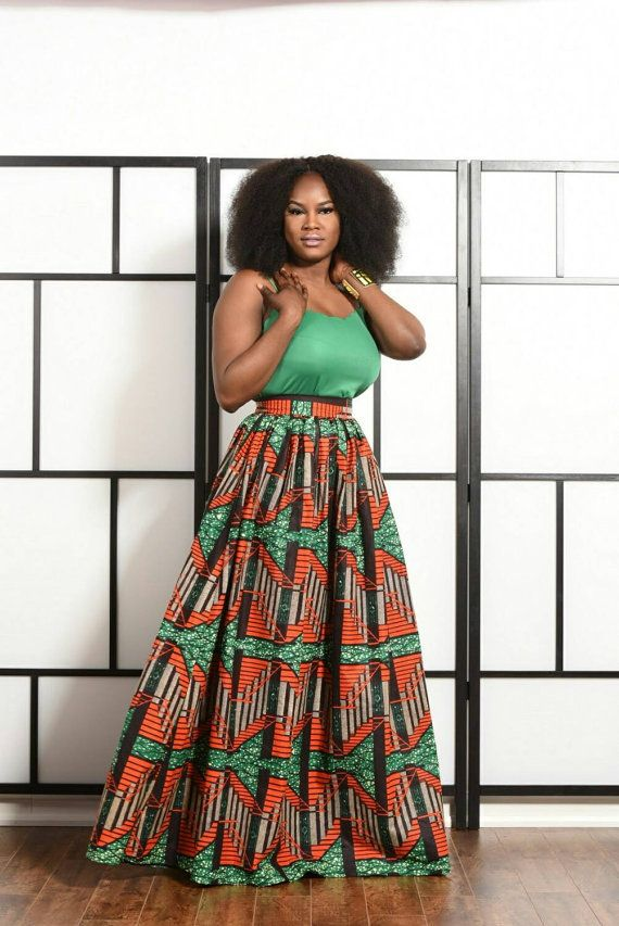 Elegant bold African print maxi skirt features 2 waistband  45 skirt lenght, gathered waistline. 2 side pockets  100% cotton fabric   *********please