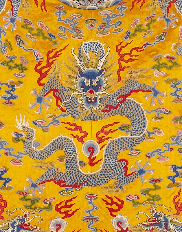 Chinese silk, Emperor Yellow with 5 toed imperial dragon