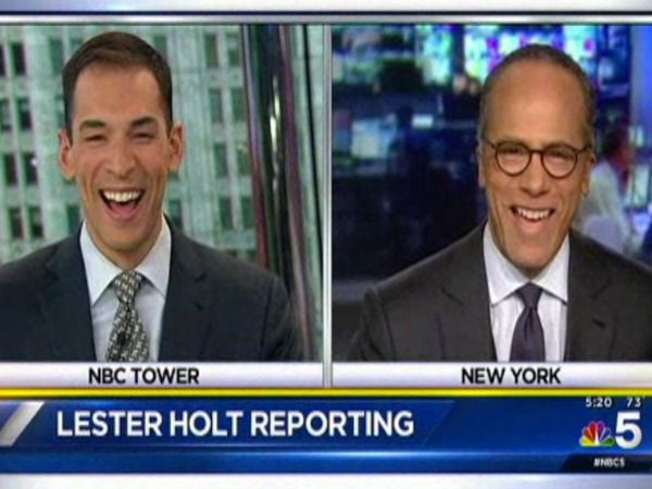 The broadcast journalism stars aligned on Monday to allow a rare father-sonmoment on air. Lester Holt was greeted by his son Stefan before a routine promo for NBC Nightly News during a news program by NBC's Chicago affiliate. Both father and son were filling in for other people at the time, so the