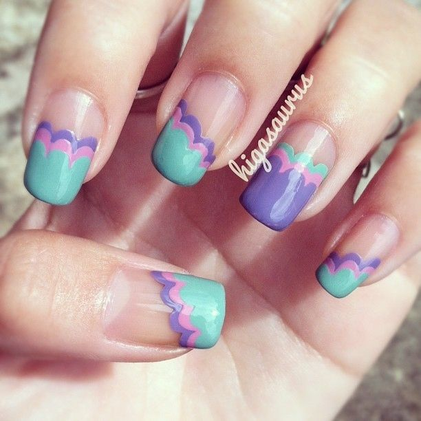 lattice nails in girly colors