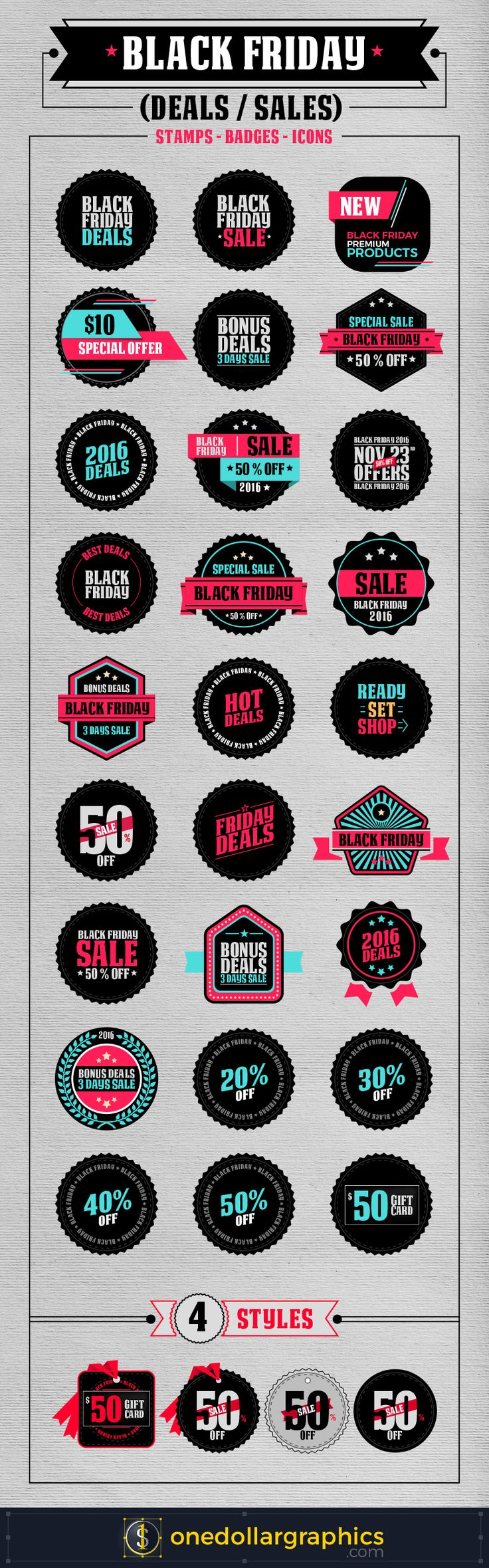 Black Friday Deals / Sales | Stamps, Badges, Icons In Vector Format