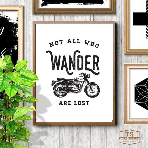 Typography Poster JRR Tolkien Motorcycle Art Not All by TypeSecret