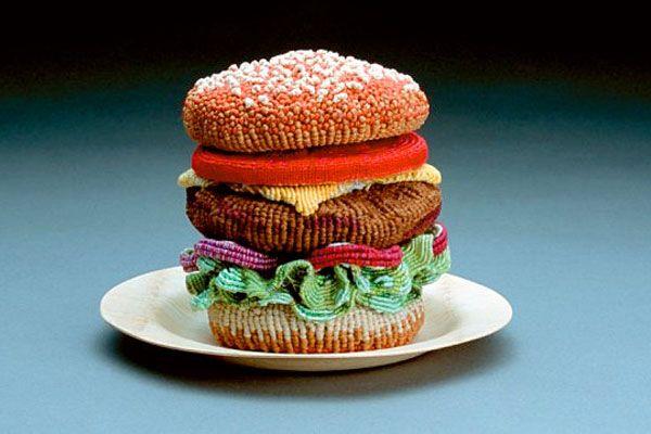 fiber #artFood Sculpture, Bing Lee, Junk Food, Foodart, Fiber Art, Food Art, Big Mac, Hamburgers, Knits
