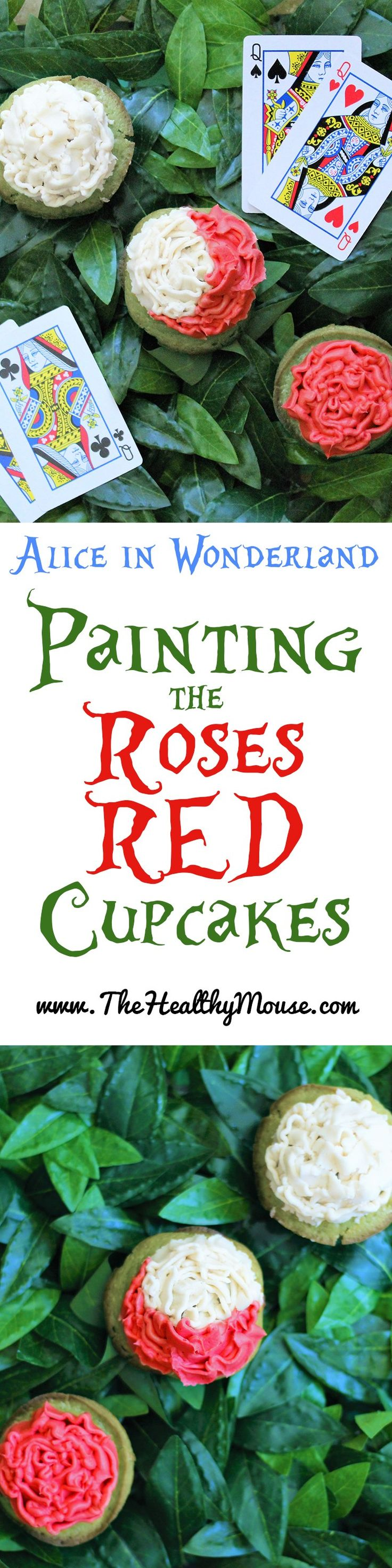 Alice in wonderlan inspired painting the roses red cupcakes– Disney cupcakes