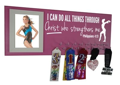 gymnastics gymnast equipment ribbons awards medals display Philippians - choose your color, size and style - Starting at $24.99 - Awesome gift for gymnast!