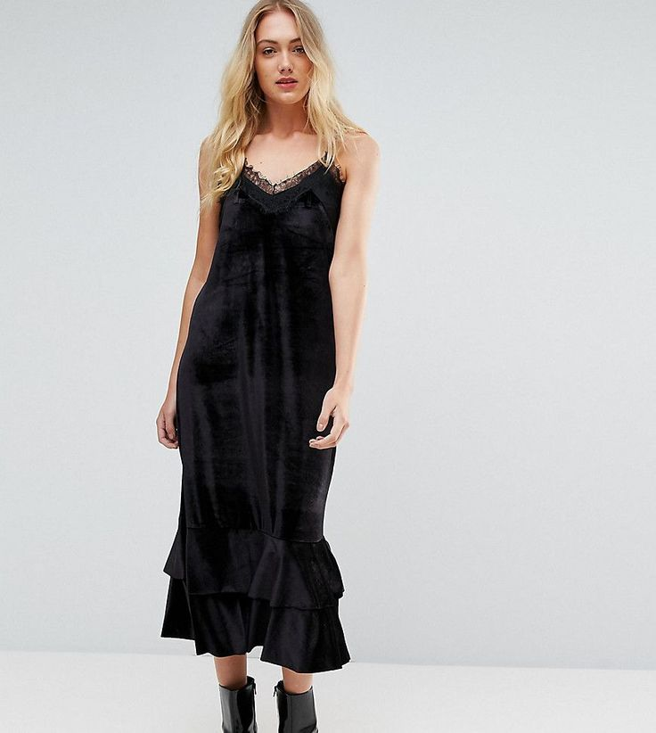 Y.A.S Tall Satin Cami Dress With Lace Trim - Black