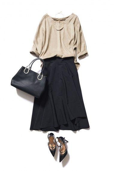 きちんともカジュアルも楽しめるブラックのミディ丈スカートが1枚あれば! ― B-ファッションコーディネート通販|ビストロ フラワーズ トウキョウ