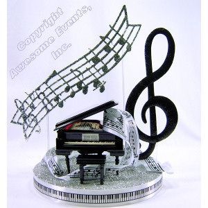 Classical Night Centerpiece - elegant table decoration with a real music box keepsake. Available in Gold or Silver from awesomeevent.com