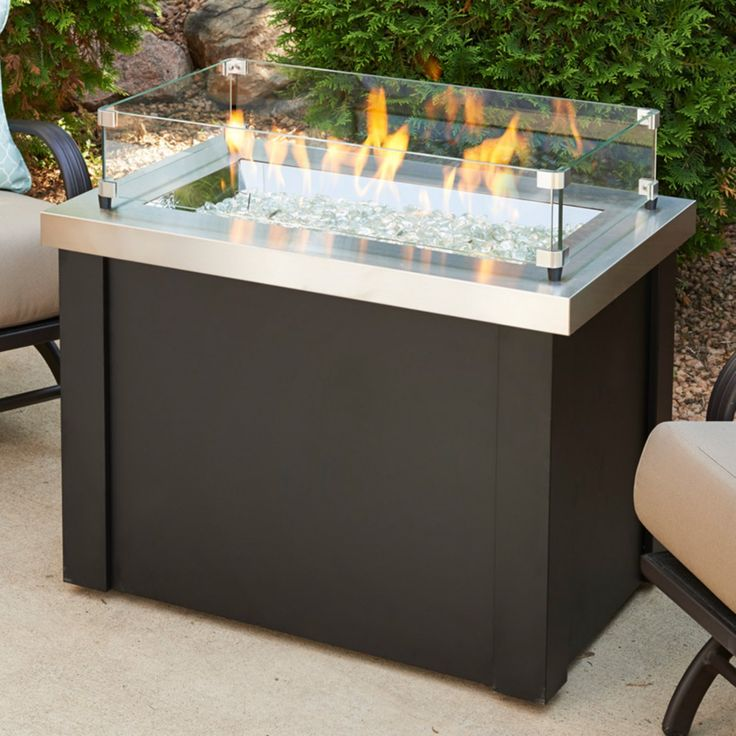 Outdoor GreatRoom Providence Stainless Steel Fire Pit Table with Optional Glass Guard and Burner Cover - FSH189