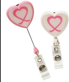 Opromo Custom Breast Cancer Awareness Heart Shape Retractable Badge Holder, Transparent Heart Badge Reel #custom