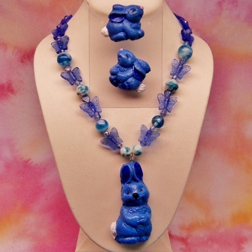 Blue Polymer Clay Bunny Earring and Necklace set with Butterfly Beads