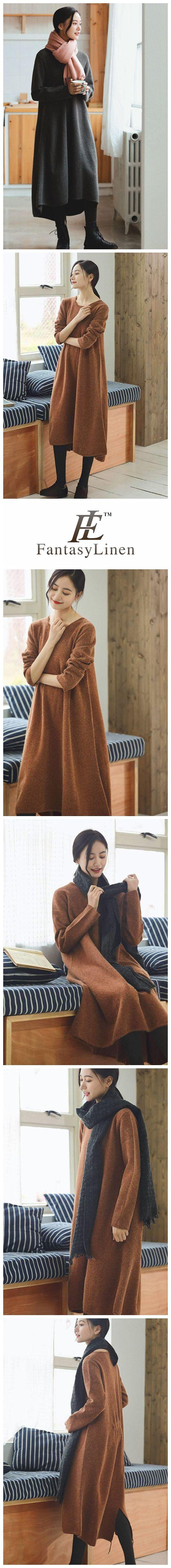 Orange Maxi Loose Wool Knitted Long Sweater Dress in Autumn/Winter Q2731 Q2731Orange