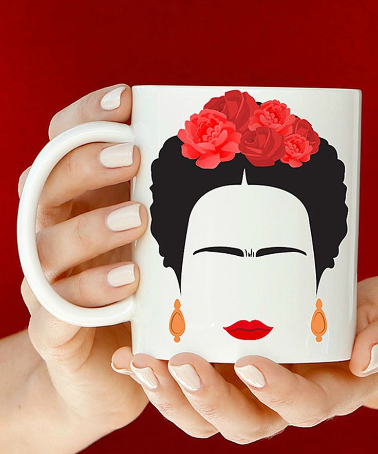 Another great find on #zulily! White & Red Frida Kahlo Ceramic Mug by Month 2 Month Baby #zulilyfinds