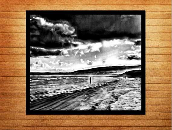 Black and white photography - wall art printables. Beach photo titled 'Walking on Water' - Made by Gia $10.00