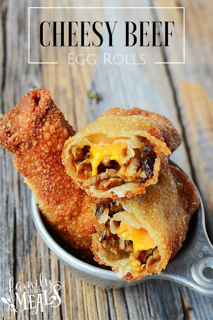 These Cheesy Beef Egg Rolls are great for any kind of a party, from game night to a potluck supper. They're an easy-to-handle finger food parties!