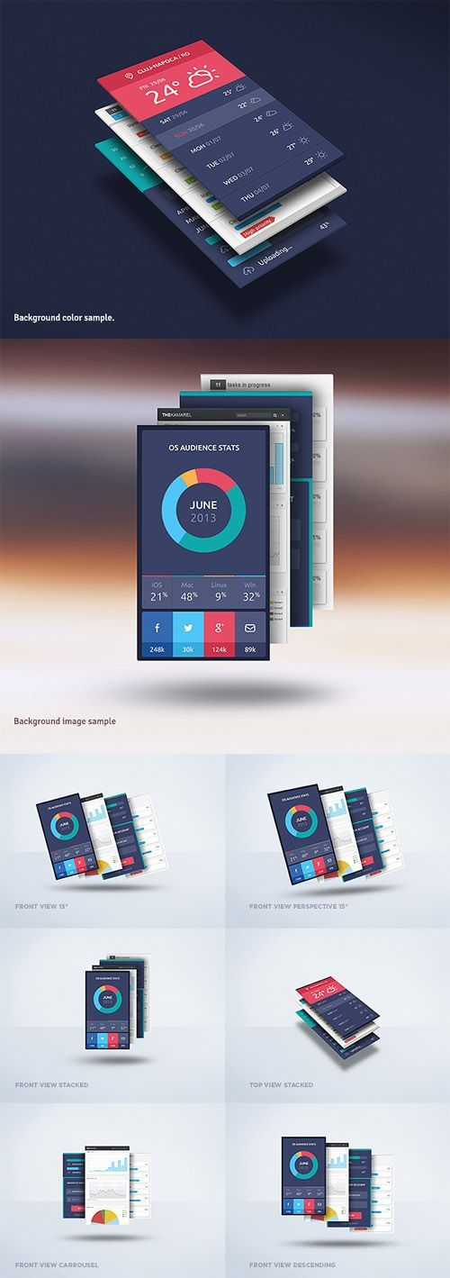 Floating Mobile Display Mock-Up PSD Freebie