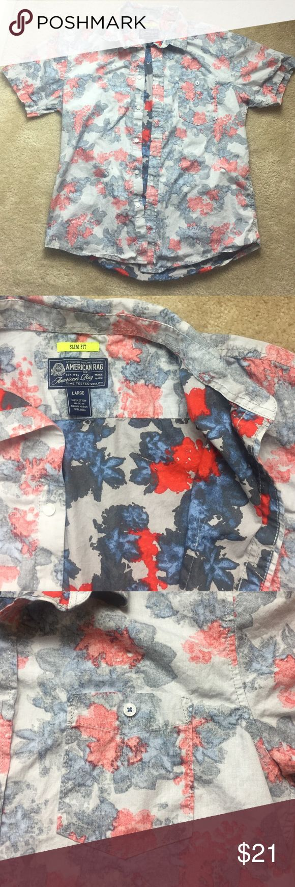 American rag shirt Red, gray, blue floral print shortsleeve button up- size large.  So flaws American Rag Shirts Casual Button Down Shirts