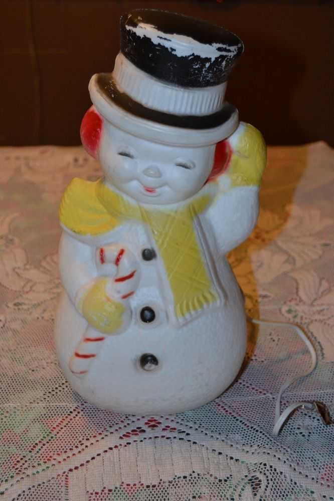 Vintage Blow Mold Poloron Snowman Light Up Christmas Decoration 13 5 8 Tall