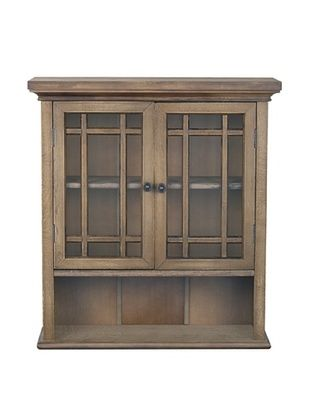 38% OFF Elegant Home Fashions Harrington Wall Cabinet with 2 Doors, Weathered Wood