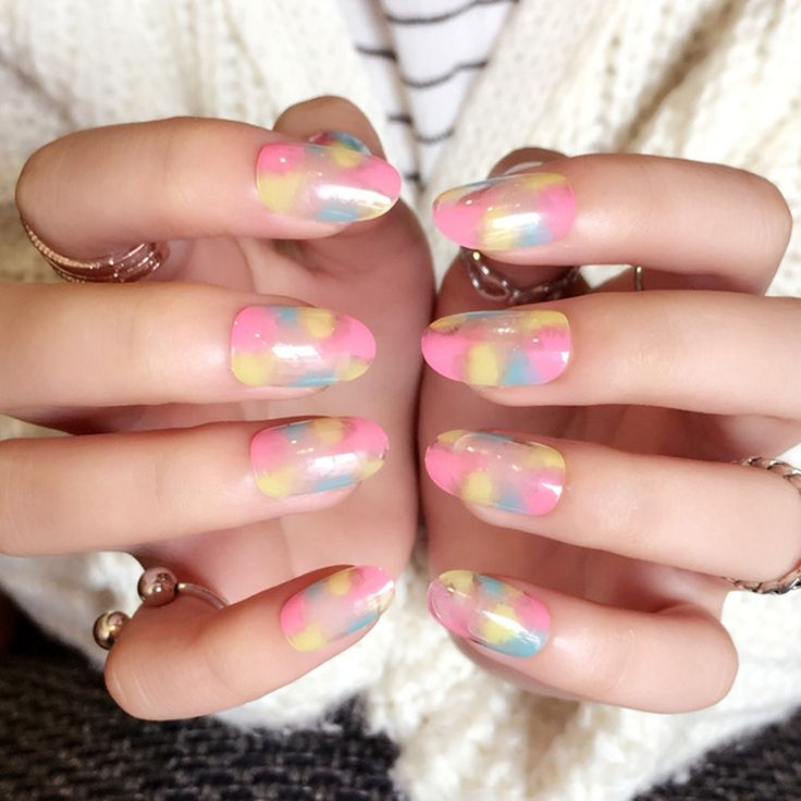 Clear False Nail Tips Blooming Skyblue Pink Yellow Fake Nails DIY Nail Art Manicure Nails Decoration 24Pcs Z429