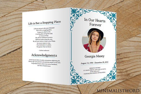 "Instant Download - 8.5"" by 11"" Funeral Program Microsoft Word Doc Template"