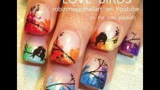 Robin Moses nail art! LOVE BIRDS rainbow nail art 758, via YouTube.