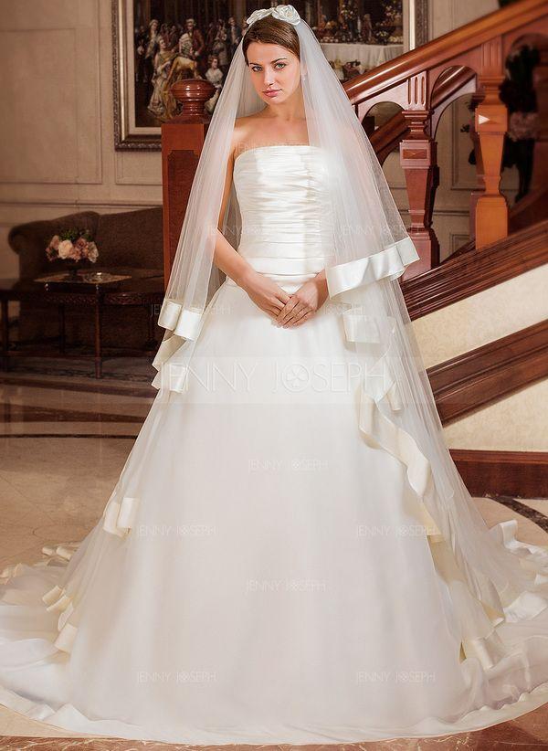 Платье для Балла Без лямок Часовня Поезд Органза Атлас Свадебные Платье с Ниспадающие оборки (002012025)