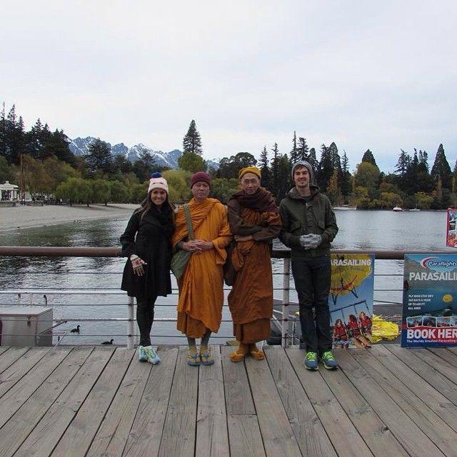 Making friends with Buddhist monks on the street. Queenstown. #nomadiccarol #carolprates #newzealand @purenewzealand
