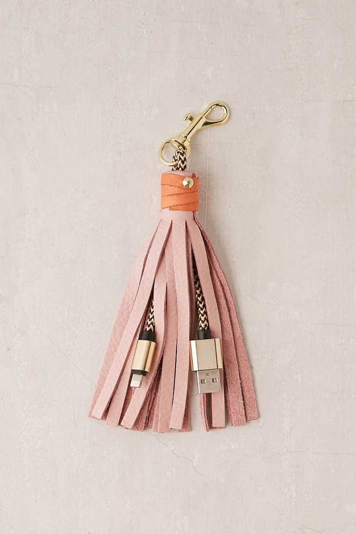USB Leather Tassel Keychain + Charger