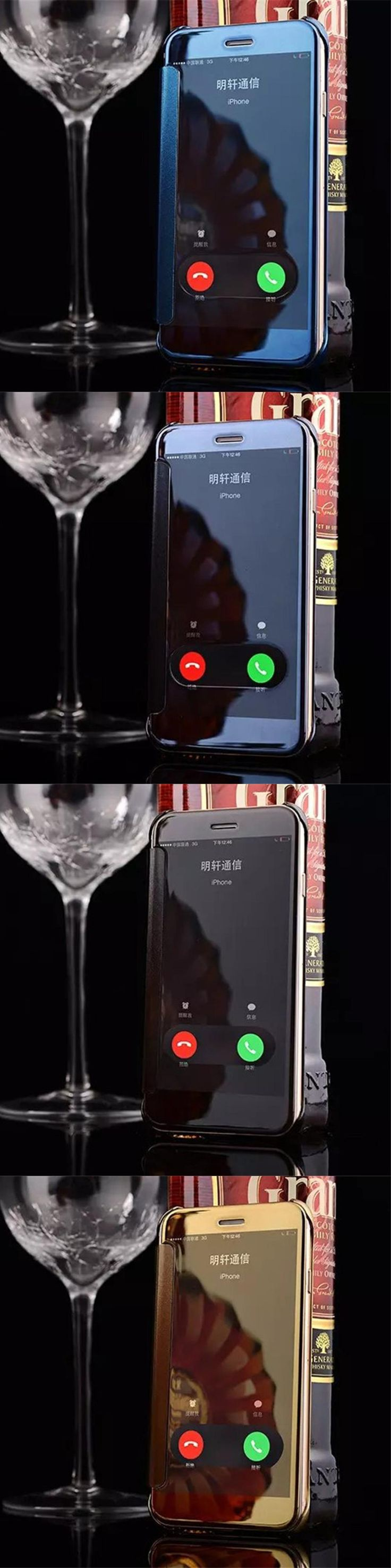 Luxury View Window Flip phone cover case For Apple iPhone 6 6s/6 6s plus Clean Mirror Hard PC Plastic PU Leather phone shell