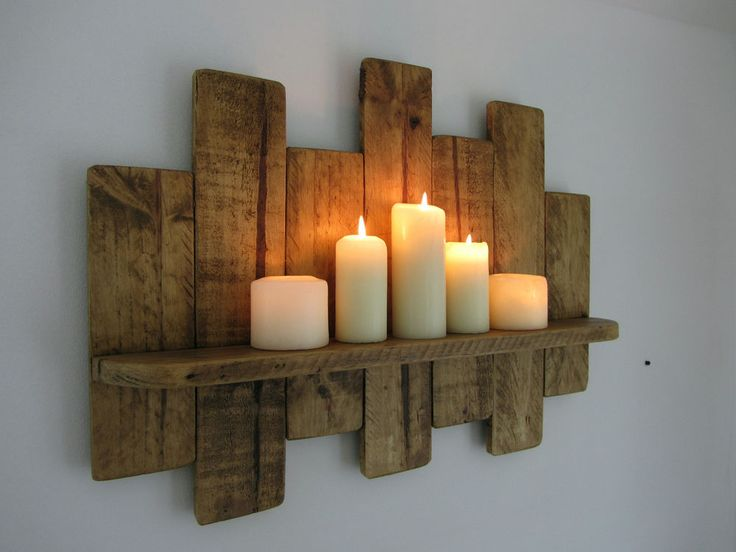62 CM UPCYCLED RUSTIC PALLET WOOD FLOATING SHELF SHELVING SCONCE in Home, Furniture & DIY, Furniture, Bookcases, Shelving & Storage | eBay