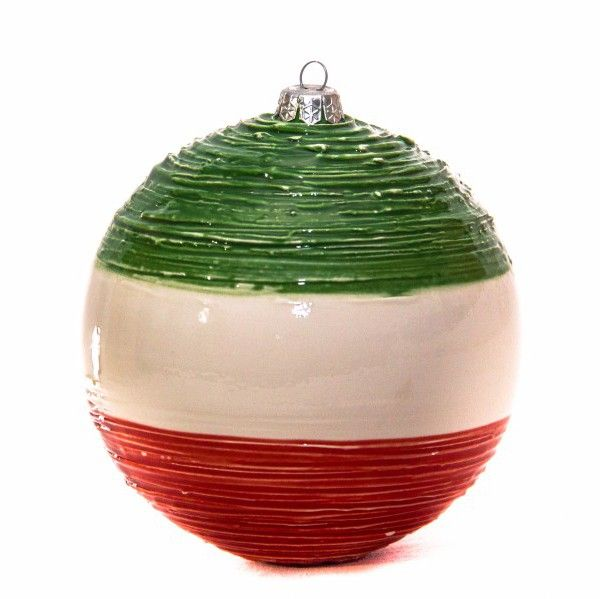 Ceramic Christmas tree decoration Italy's colors sphere: white, red and green. Exclusive design and original lavoration process  technique. Pallina de Natale Italia.
