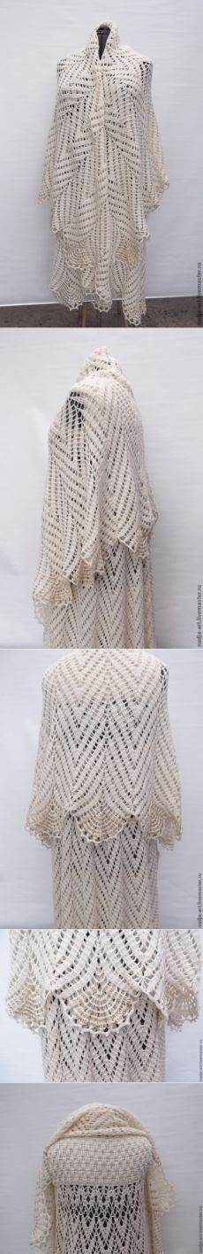 Купить Пальто  трансформер  Перья Белого павлина Вязаное Крючком - оригинальный подарок, весенняя мода