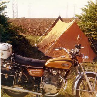 Vango Force 10 & vintage Yamaha motorbike