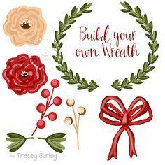 Wreath Clip Art Invitation Art holiday clip by TraceyGurleyDesigns