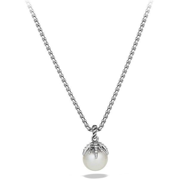 David Yurman Starburst Pearl Pendant with Diamonds on Chain found on Polyvore