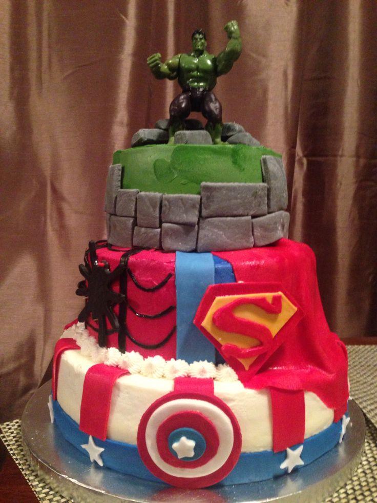 Super Hero's birthday cake. Super Man,  Captain  America, Spider Man and the Incredible Hulk