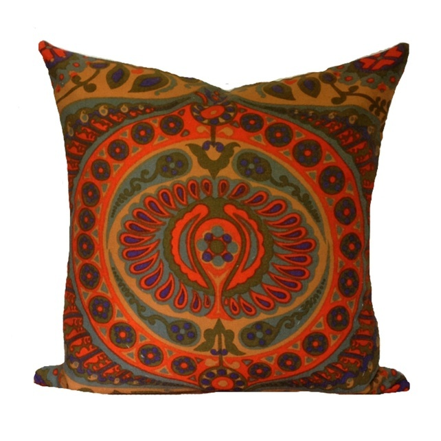 Cushion Cover Vintage 1966 Pageant In Orange, Design By Jyoti Bhomik. Fair Trade Organic Fabric