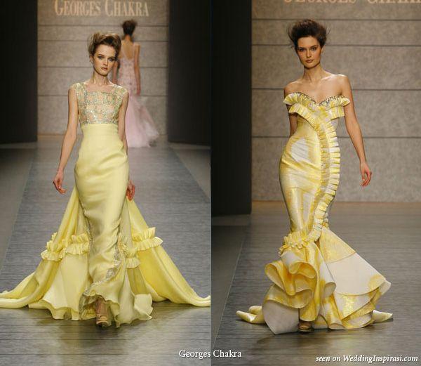 Georges Chakra Spring Summer 2010 Yellow Wedding Dressesyellow