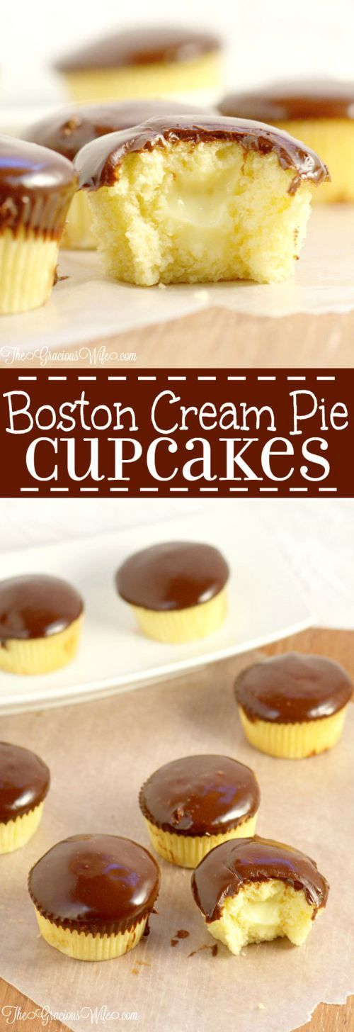 Boston Cream Pie Cupcakes- cupcake recipe with a pastry filling and chocolate ganache frosting. What a delicious dessert idea! Moist, creamy, and CHOCOLATE!